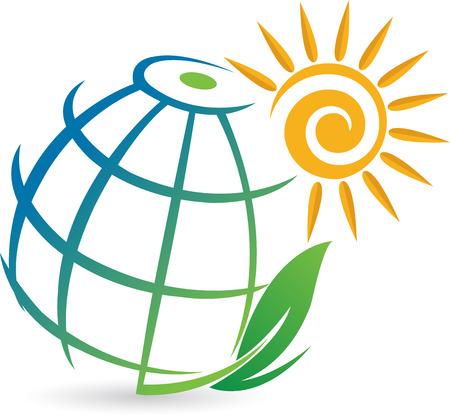 weltweit: Illustration Kunst eines globalen �ko-Logo mit wei�em Hintergrund Illustration