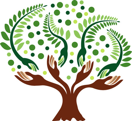 Illustration art of a hand tree with isolated background Vector