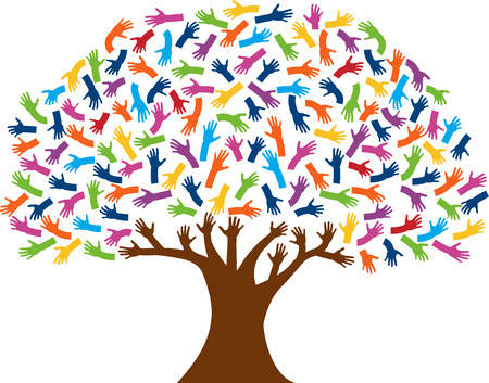 Illustration art of a hands tree with isolated background Vector