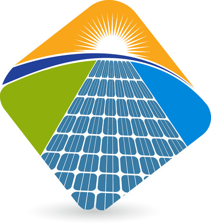 Illustration art of a solar panel with isolated background