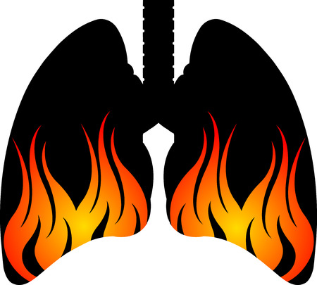 Illustration art of a flame lungs logo with isolated background Vector