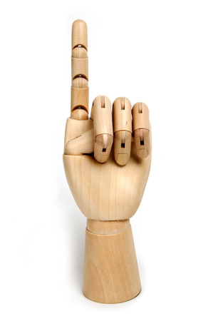 bendable: wooden dummy hand with isolated background