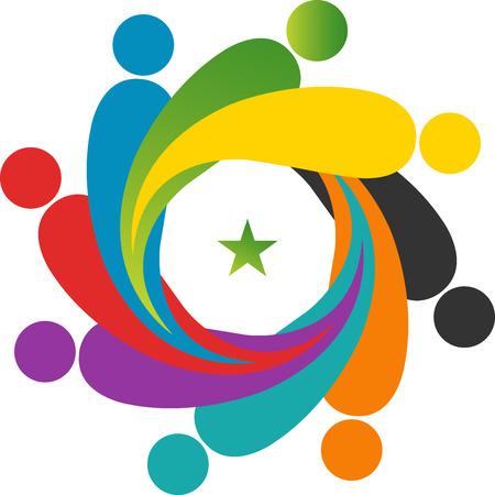 Arte de la ilustraci�n de un logotipo trabajo en equipo con el fondo aislado