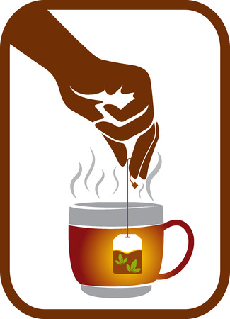 hand logo: Illustration art of a hand tea pack logo with isolated background