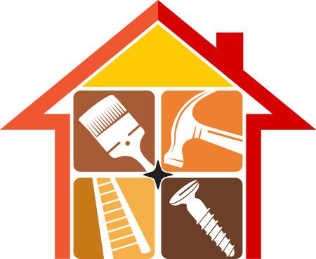 working at home: Ilustraci�n de arte de una reparaci�n en el hogar