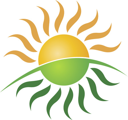 Illustration art of a sun logo with isolated background Illusztráció