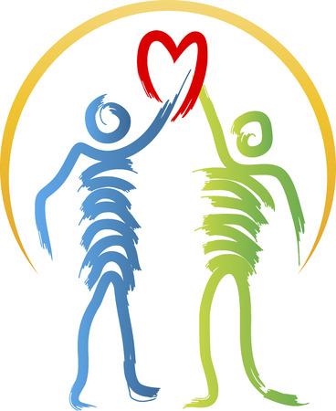 stylish couple: Illustration art of a stylish couple heart logo with isolated background
