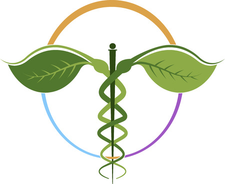 homeopathic: Illustration art of a herbal caduceus with isolated background