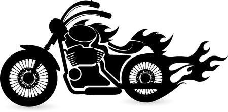 fuoco e fiamme: Arte di illustrazione di una moto velocit� con sfondo isolato