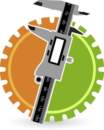 sliding caliper: Illustration art of vernier gear with isolated background
