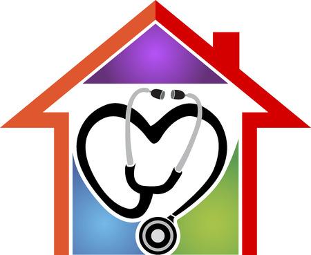 icone sanit�: Arte di illustrazione di una casa di assistenza sanitaria con sfondo isolato