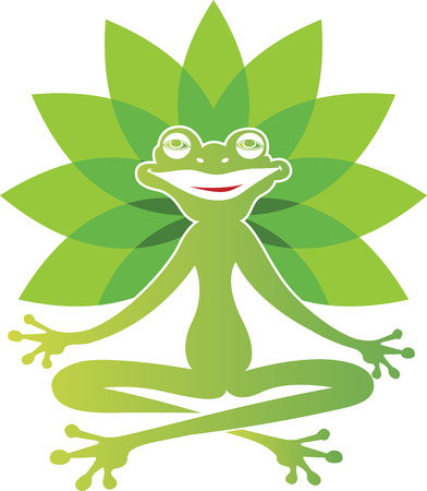 croaking: Illustration art of a Frog yoga with isolated background