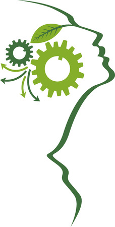 Illustration art of a mind gear logo with isolated background Vector