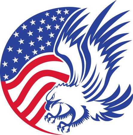Illustratiekunst van een Amerikaanse kale adelaar met geïsoleerde achtergrond