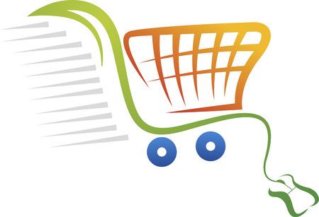 Illustratie kunst van een online aankoop logo met geïsoleerde achtergrond