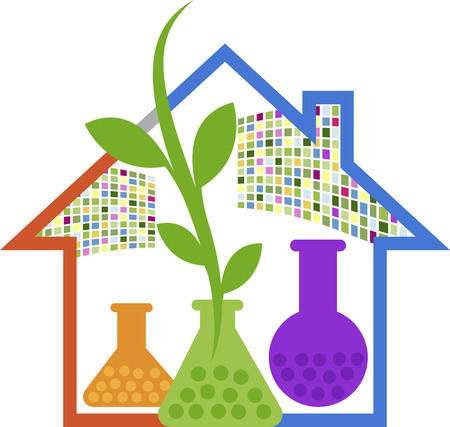 Illustration art of a home lab herbal logo with isolated background Vector