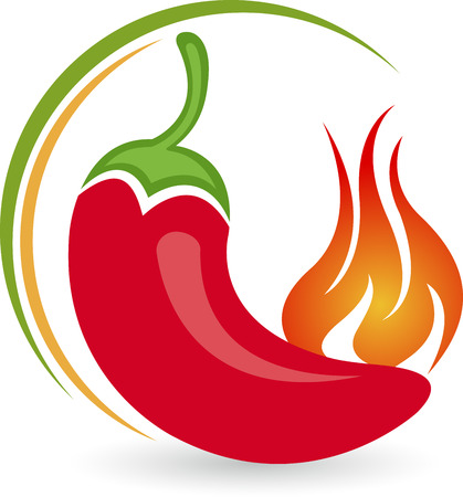 Illustration art of a hot chilly logo with isolated background