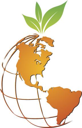 eco slogan: Arte de la ilustraci�n de un logotipo mundial de frutas con fondo blanco