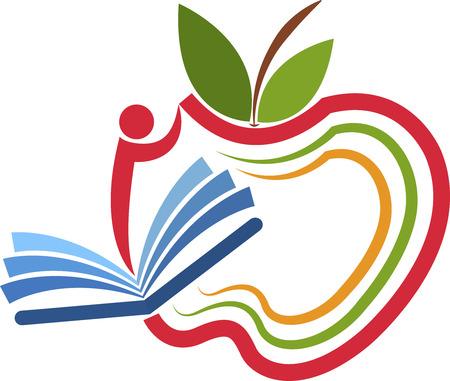 marca libros: Arte de la ilustraci�n de un logotipo de educaci�n manzana con el fondo aislado