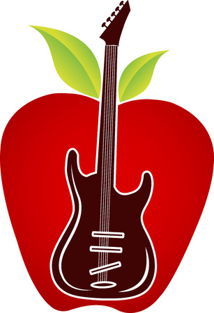 guitar illustration: Illustration art of a guitar apple logo with isolated background