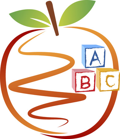 Illustration art of a education apple logo with isolated background Vector