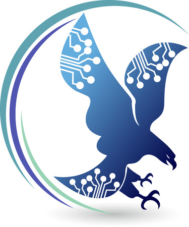 Illustration art of a circuit eagle logo with isolated background Illustration