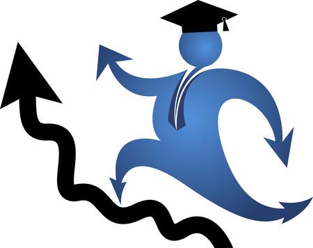 alumno estudiando: Arte de la ilustraci�n de un logotipo de educaci�n punter�a con el fondo aislado Vectores