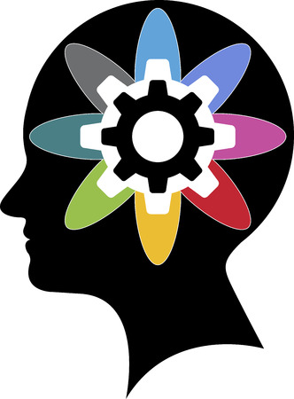 Illustration art of a brainpower logo with isolated background Vector
