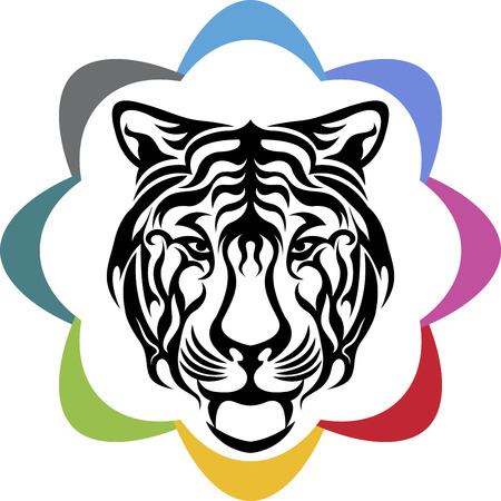 Illustration art of a tiger logo with isolated background Vector