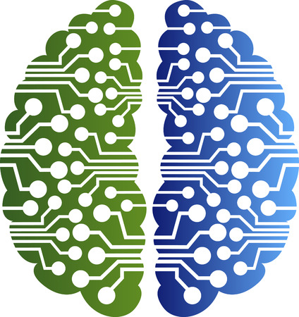 circuitos electricos: Arte de la ilustración de un logotipo circuito cerebral con fondo blanco