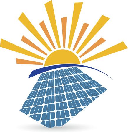 Illustratie kunst van een zonnepaneel logo met geïsoleerde achtergrond Stock Illustratie