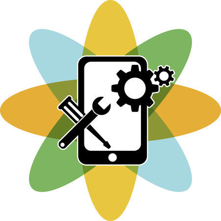 Illustration art of a mobile repair with isolated background Vector