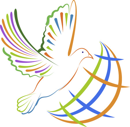 Illustration art of a global dove with isolated background Vector