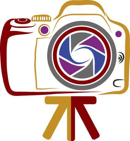 hotshot: Illustrazione arte di una macchina fotografica con sfondo isolato Vettoriali