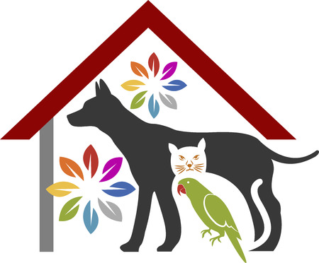 Illustration art of a pet care logowith isolated background Vector