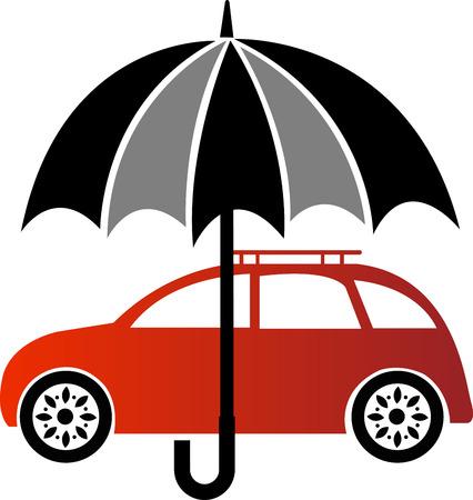 seguros autos: Arte de la ilustraci�n de un seguro de autom�vil con fondo blanco