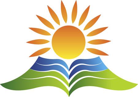Arte de la ilustración de un logotipo de educación brillante con fondo blanco