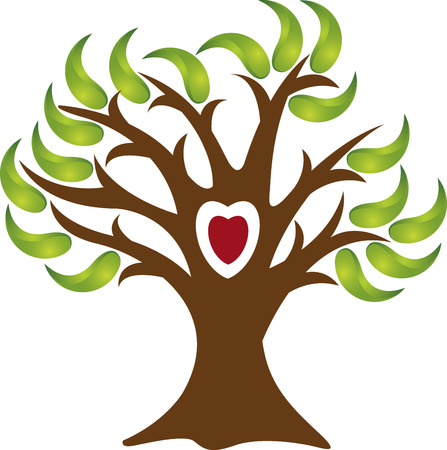 Illustration art of a love tree logo with isolated background Vector