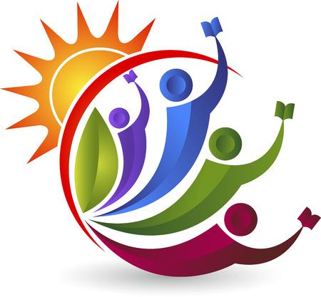 g�n�rer: Illustration d'art d'une �ducation logo lumineux de couple avec fond isol�