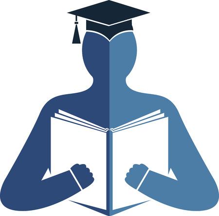 隔離された背景を持つ教育ロゴのイラスト アート  イラスト・ベクター素材
