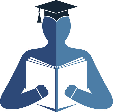 students studying: Illustration art of a education logo with isolated background