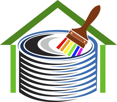 logo home: Illustration art of a home decor logo with isolated background