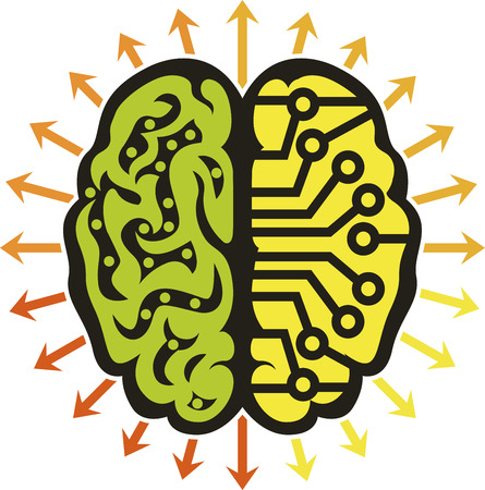 Illustration art of a power brain logo with isolated background