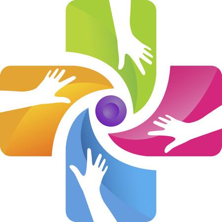 soins mains: L'art Illustration d'un logo de soins des mains avec fond isol�