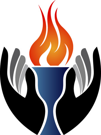 Illustration art of a hand flame with isolated background Vector
