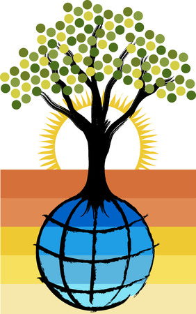 tree logo: Illustration art of a globe tree logo with isolated background