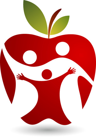 Illustration art of a active family with apple shape