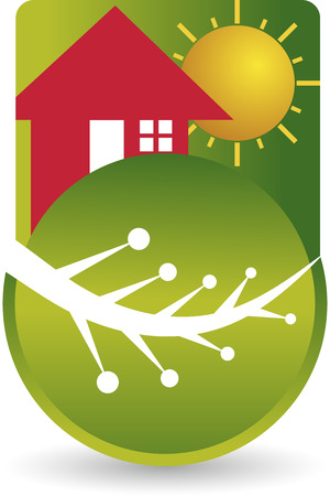 Illustration art of a eco house leaf with isolated background Vector
