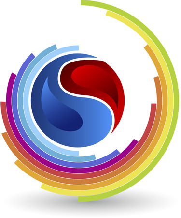 Illustration art of a two division circle logo with colorful circle lines Vector