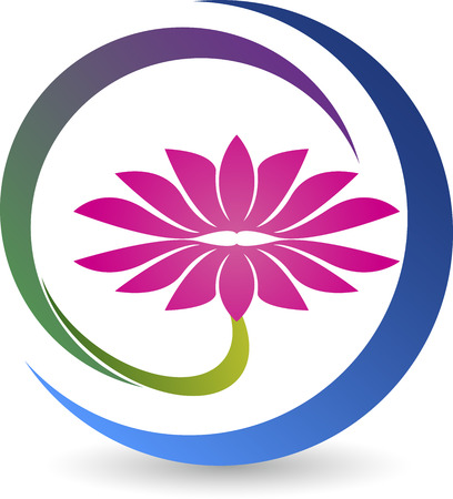 Illustration art of a lotus logo with isolated background